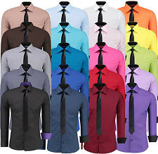 Mens Top Casual Formal Dress Shirts Long Sleeve Business Work Slim Fit Tie S-6XL