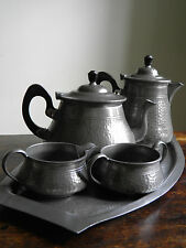 Vintage Pewter 4 piece Teaset with tray Roundhead Birmingham