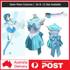 Light Blue Sailor Moon Costume Cosplay Uniform Fancy Dress Up Hens Party +Gloves