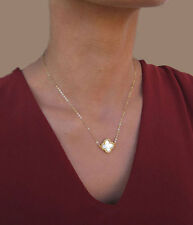 Clover Necklace Gold, Four Leaf Clover Necklace, Lucky Shamrock Jewelry Gift