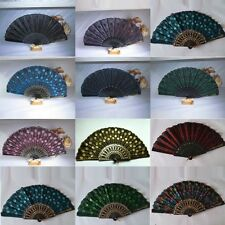 Peacock Pattern Folding Hand Held Danc Fan Embroidered Sequin Party Wedding Prom