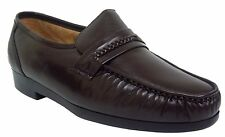 Climate X 21592-2 Mens Brown Leather Slip On Comfort Dress Moccasin Shoes WIDE