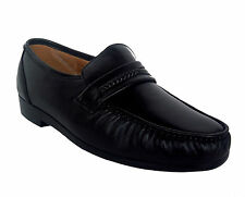 Climate X 21592-2 Mens Black Leather Slip On Comfort Dress Moccasin Shoes WIDE