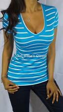 SEXY BLUE WHITE V NECK LOW CUT CLEAVAGE PREPPY STRIPE CASUAL BASIC TEE TOP BT15