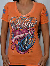 Sinful by Affliction Woman's RAMONA Burnout T-Shirt - S2513 - NEW - Orange