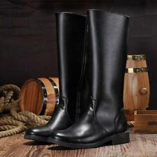 New Men's Leather military Round toe Zipper Combat Boots Knee High top Boots