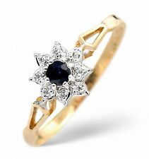 9K Gold Diamond & 2.75mm Sapphire Cluster Ring Sizes F-Z Made in London