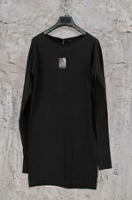 NEW M.A+ MAURIZIO AMADEI WOMEN'S BLACK COTTON LONGSLEEVE SHORT DRESS 44IT