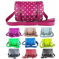 Polka Dot Vintage Style Work Mini Small Briefcase Satchel Shoulder Bag Women