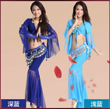 Top Sexy  Belly Dance Costumes 3pcs set Bra+Hip Belt+Bubble Skirt Full Outfit