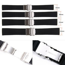Top Black Silicone Rubber Watch Strap Band Deployment Buckle Waterproof 18~24mm