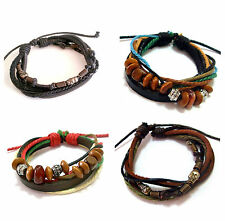 12mm Unisex Trendy Metal Black Brown Blue Leather Bracelet Wristband