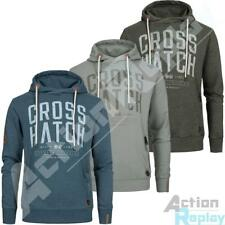 Mens Crosshatch Printed Front Zip Pockets Hoodie Marl Pullover Hooded Sweat Tops