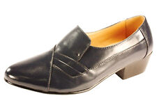 D'Italo 5629 Mens BLACK Leather Comfort CUBAN HEEL Slip On Fashion Dress Shoe
