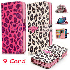New Leopard Print PU Leather Credit Card Holder Wallet Flip Case For Cell Phone