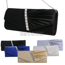 Ladies Satin Pleated Evening Party Wedding Prom Envelope Clutch Handbag NEW