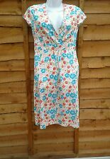 NEW BODEN FLORAL WHITE BLUE PINK COTTON LADIES WRAP EFFECT SUMMER DRESS TUNIC 8