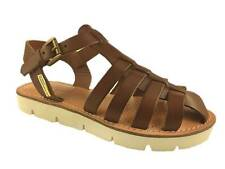 LADIES BROWN LEATHER STRAPPY SANDALS COMFORT LEATHER INSOLE SIZE 3-8