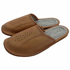 Mens Natural Leather Slippers, Flip Flops Mules, Beige Size 7-12
