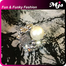Flower Faux Pearl & Diamante Colouful Ring