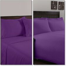 1200 1000 800 TC 100% Egyptian Cotton UK Hotel Quality Purple in Solid & Striped