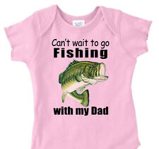 "PINK GIRLS ""Can't Wait To Go FISHING with DAD_GRANDPA_PAPAW"" Bass Fishing Shirt"