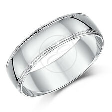 9ct White Gold Millgrain Wedding Ring Band Solid Heavy Weight Weight D Shape