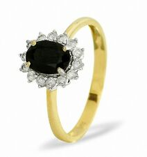 9K Yellow Gold 0.18ct Diamond & 0.90ct Sapphire Ring  Size K - S Made in London