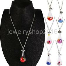 Wish Current Bottle Dry Flower Crystal Water Drop Pendant Chain Necklace Gift