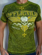 Affliction American Customs - BULLET BARS - Men's Burnout T-Shirt  - NEW - Green