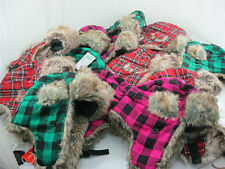 NEW FURRY LADIES 59CM TARTAN HATS 3 COLOURS TO CHOOSE FROM