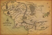 Lord of the Rings Map of Middle Earth Canvas Picture Wall Art