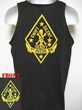 1ST RECON BN TANK TOP/ USMC RECON T-SHIRT/ MILITARY/ MARINES/ BLACK COLOR/   NEW