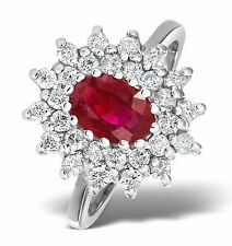 9k White Gold 0.56ctw Diamond & 7 x 5mm Ruby Ring Sizes F-Z Made in London