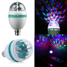 3W E27/B22 RGB Crystal Ball Rotating LED Stage Light Bulbs Disco Party Bulb Lamp