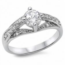 Solitaire Halo Wedding Engagement Ring Solid 925 Sterling Silver 2Ct Russian CZ