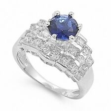Wedding Engagement Ring Sterling Silver 1.40 Ct Blue Sapphire Ice Russian CZ