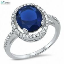 Solitaire Wedding Engagement Promise Ring Sterling Silver Blue Sapphire White CZ