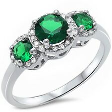 3 Stone Vintage Wedding Engagement Ring Sterling Silver 2 CT Emerald Russian CZ