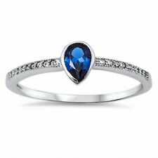 Wedding Engagement Ring Solid 925 Sterling Silver 0.50CT Blue Sapphire Clear CZ