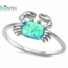 Animal Spider Crab Ring 925 Sterling Silver Blue Lab Fire Australian Opal