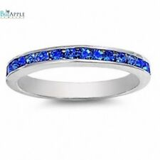 3MM Eternity Wedding Engagement Band Ring Sterling Silver Blue Sapphire CZ