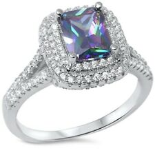 Solitaire Halo Wedding Engagement Ring Solid 925 Sterling Silver Topaz 1ct CZ