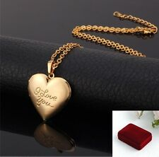 Birthday Gift Anniversary 18K Gold Plated Heart Locket Necklace Pendant w. BOX
