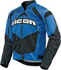 NEW ICON MENS BLUE TEXTILE MOTORCYCLE JACKET FIELD ARMOR FIGHTER MESH MX STREET