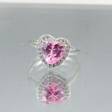 Wedding Engagement Promise Ring Sterling Silver 1.71 CT Pink Topaz Russian CZ