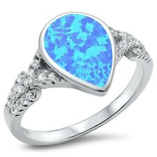 Solitaire TearDrop Pear Shape Wedding Ring Sterling Silver Blue Opal Russian CZ