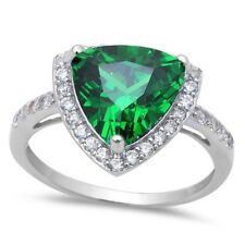 Solitaire Wedding Engagement Ring 925 Sterling Silver 2.35CT Emerald Russian CZ