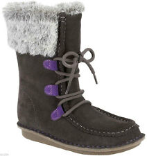 Clarks SNUGGLE WALL Girls Grey Suede Leather Winter Boots 7 - 2 F G CLEARANCE