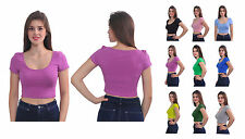 WOMENS SEXY CASUAL CROP TOP BLOUSE SHIRT U NECK SHORT SLEEVE SUMMER STRETCHY TOP